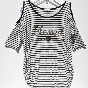 Gemstone Maternity Striped Ruched T-Shirt Top